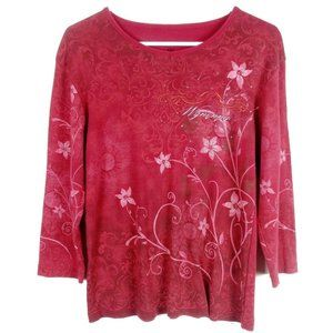 Wynonna the Collection Floral 3/4 Sleeve Top Shirt